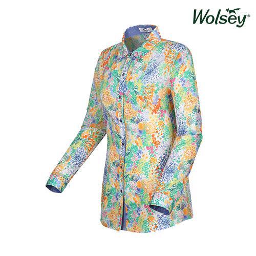 여름 여성 플라워 셔츠 W52LWP850BL