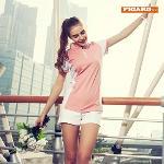 [피가로]여성 레포츠 집업 티셔츠 핑크