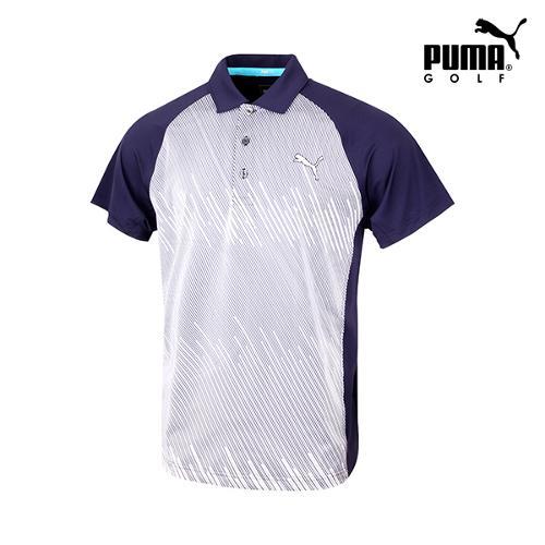 [푸마골프] 남성 변형스트라이프 반팔 티셔츠 571526-03_GA