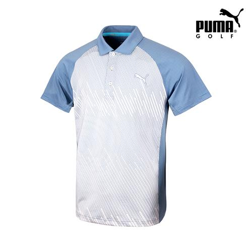 [푸마골프] 남성 변형스트라이프 반팔 티셔츠 571526-01_GA