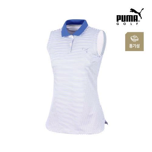[푸마골프] 여성 스트라이프 폴로 민소매 티셔츠 571596-03_GA