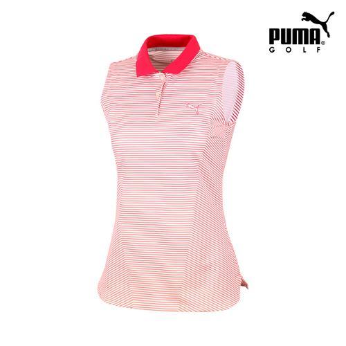 [푸마골프] 여성 스트라이프 폴로 민소매 티셔츠 571596-02_GA