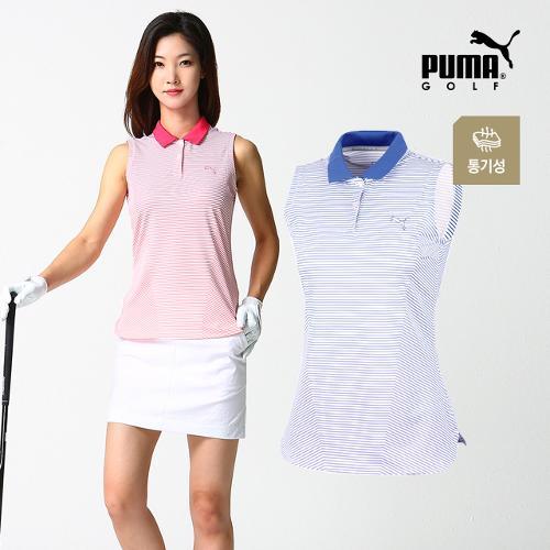 [푸마골프] 여성 스트라이프 민소매 티셔츠 2종_GA