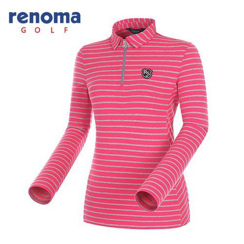 [레노마골프]여성 스트라이프 반집업 카라 티셔츠 RATS5A541-PK
