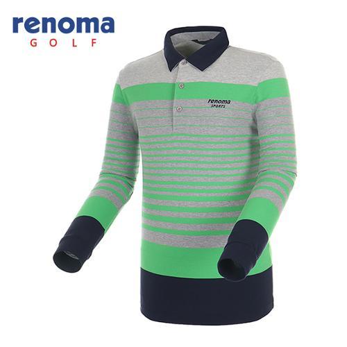[레노마골프]남성 스트라이프 카라 배색 티셔츠 RATS15541-GN