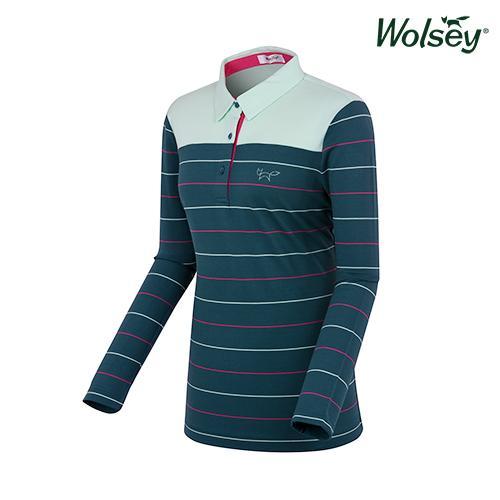 여성 스트라이프 긴팔 티셔츠 W71LTJ020GN