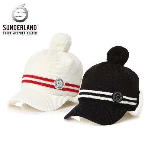 선덜랜드 SUNDERLAND 여성 겨울 방한 울 니트소재 와펜 투라인 방울 귀마개 모자 - 16742CP73