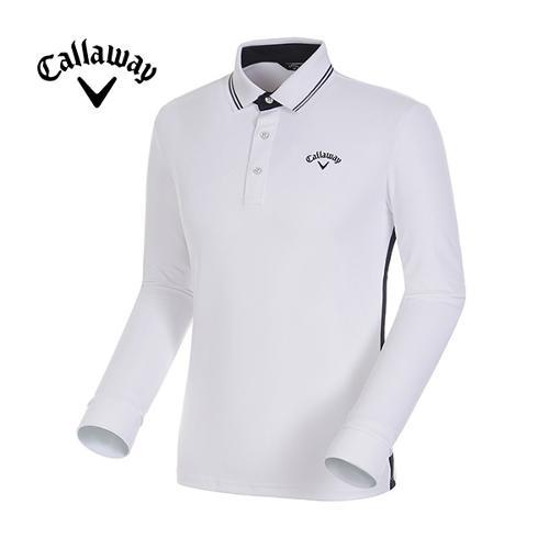 [캘러웨이]17FW 남성 자수 로고 스트라이프 카라 티셔츠 CMTPG3101-100