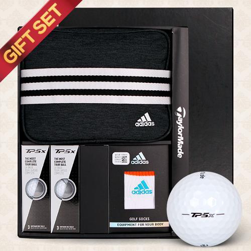 [테일러메이드]선물세트 프리미엄 파우치+TP5X 6구(5피스)골프볼+스포츠 앵클양말 1족