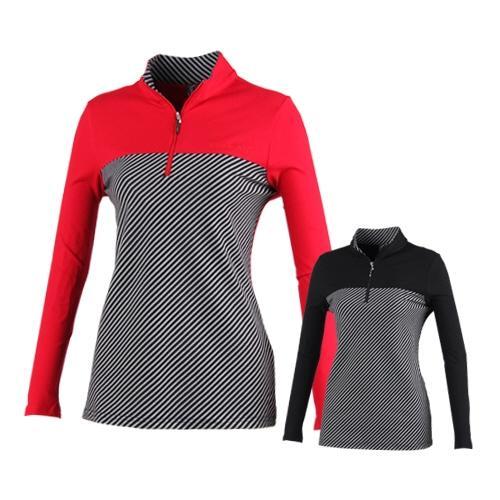 럭스골프 여성 반집업 스트라이프 배색 셔츠 ES7A608