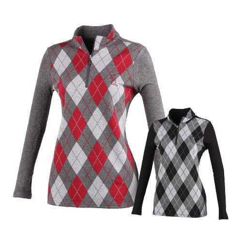 럭스골프 여성용 반집업 니트 셔츠 ES7A607
