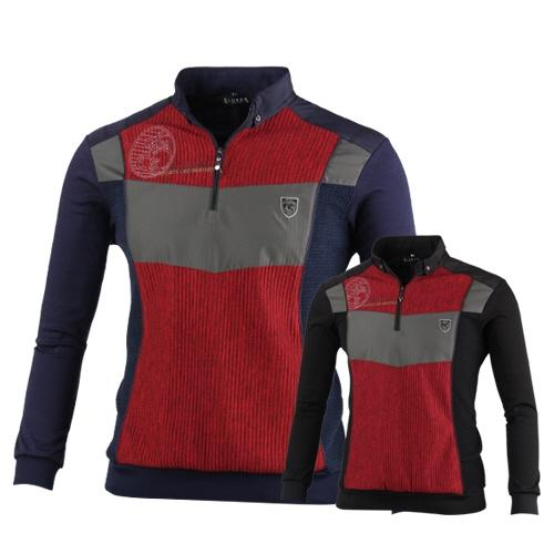럭스골프 반집업 배색 골프 티셔츠 MLU7A404