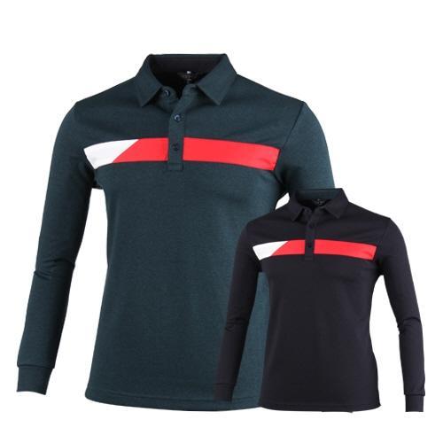럭스골프 컬러 블럭 긴팔 카라 티셔츠 OX7A421