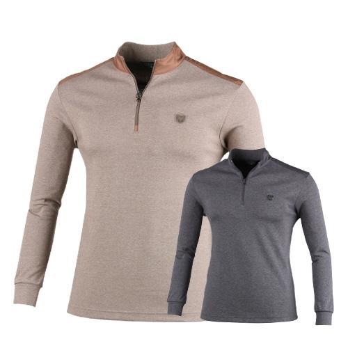 럭스골프 반집업 어깨 배색 긴팔 티셔츠 OX7A420