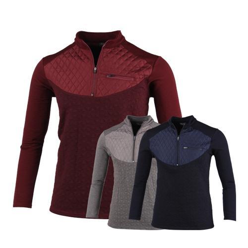 럭스골프 자가드 퀼팅 반집업 긴팔 셔츠 MA7W402