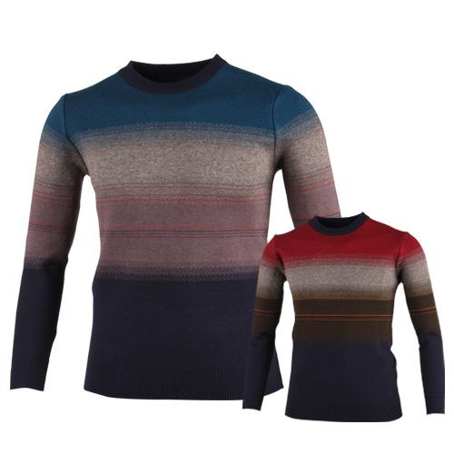 럭스골프 스트라이프 라운드 니트 셔츠 RM7W432