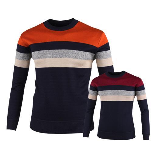 럭스골프 스트라이프 라운드 니트 셔츠 RM7W431