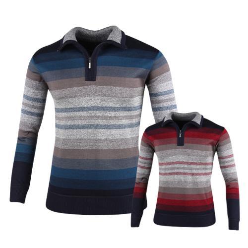 럭스골프 스트라이프 반집업 니트 셔츠 RM7W430