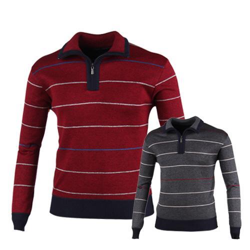 럭스골프 스트라이프 반집업 니트 셔츠 RM7W429