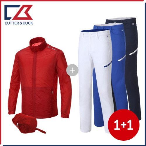 커터앤벅 남성 목폴라 긴팔티셔츠 + 스판소재 골프바지 - 2장 1세트