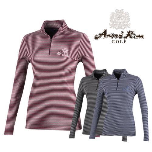 앙드레김 골프 여성 스트라이프 반집업 티셔츠 AB7DWTS455