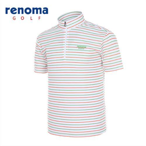 [레노마골프]남성 스트라이프 집업 반팔 티셔츠 RATS41531-WH