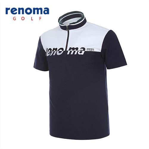 [레노마골프]남성 로고배색 반집업 반팔 티셔츠 RATSM3531-NY