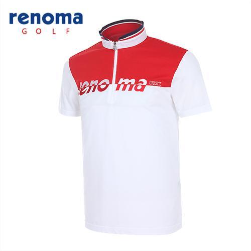[레노마골프]남성 로고배색 반집업 반팔 티셔츠 RATSM3531-WH