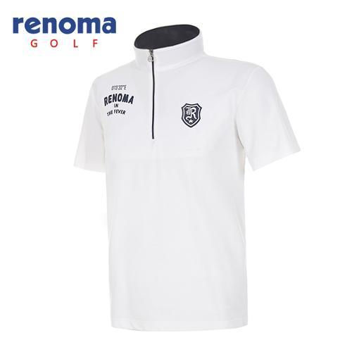 [레노마골프]남성 레터링 로고 솔리드 반집업 반팔 티셔츠 RATSM5531-WH