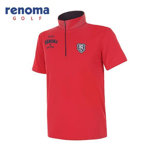 [레노마골프]남성 레터링 로고 솔리드 반집업 반팔 티셔츠 RATSM5531-RD