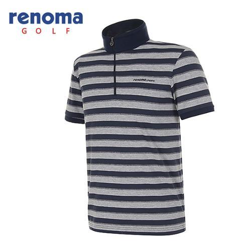 [레노마골프]남성 실버 메탈 스트라이프 반팔 반집업 티셔츠 RATS39531-NY