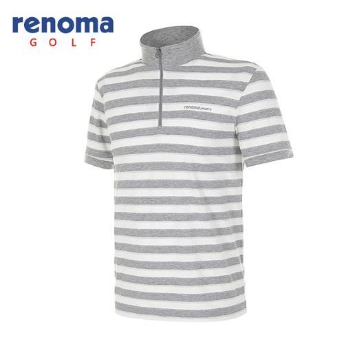 [레노마골프]남성 실버 메탈 스트라이프 반팔 반집업 티셔츠 RATS39531-MG