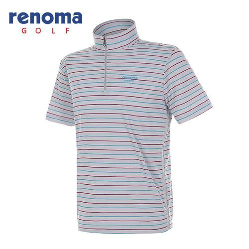 [레노마골프]남성 메쉬 패널 스트라이프 반집업 반팔 티셔츠 RATS41531-GR