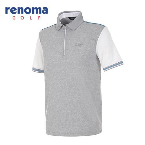 [레노마골프]남성 컬러 배색 반집업 카라 티셔츠 RATS48531-MG