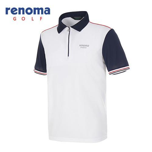 [레노마골프]남성 컬러 배색 반집업 카라 티셔츠 RATS48531-WH