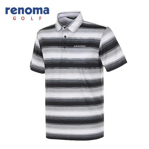 [레노마골프]남성 올오버 스트라이프 스트레치 반팔 티셔츠 RATS45531-BK
