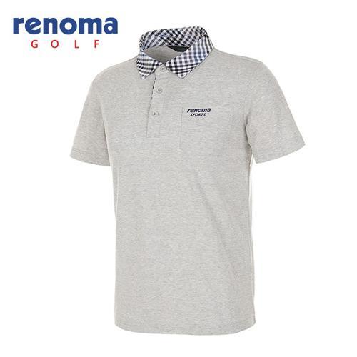 [레노마골프]남성 체크 카라 멜란지 반팔 티셔츠 RATS31531-LG