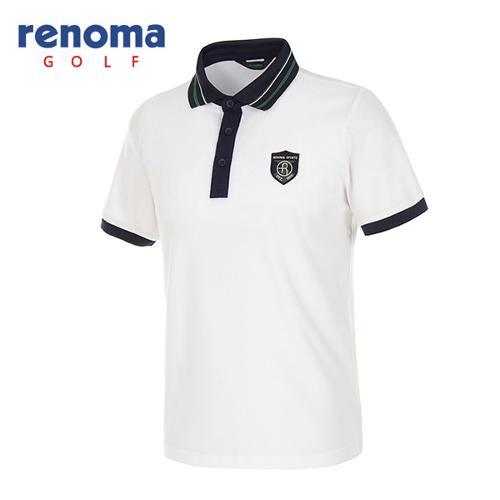 [레노마골프]남성 배색 카라 메쉬 반팔 티셔츠 RATS34531-WH