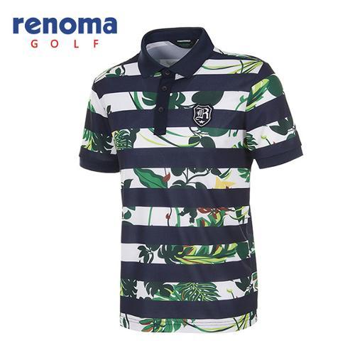 [레노마골프]남성 보태니컬 스트라이프 반팔 카라 티셔츠 RATSM4531-NY