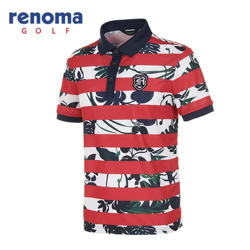 [레노마골프]남성 보태니컬 스트라이프 반팔 카라 티셔츠 RATSM4531-RD