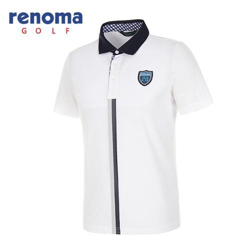 [레노마골프]남성 더블 스트라이프 폴로넥 반팔 티셔츠 RATS30631-WH