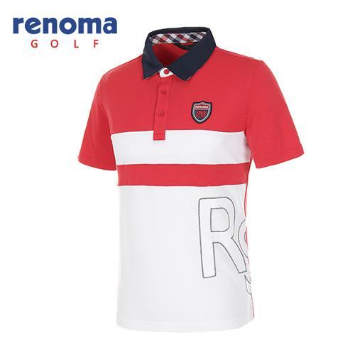 [레노마골프]남성 패치로고 컬러 블록 반팔 폴로넥 티셔츠 RATS34631-RD