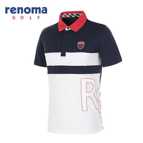 [레노마골프]남성 패치로고 컬러 블록 반팔 폴로넥 티셔츠 RATS34631-NY