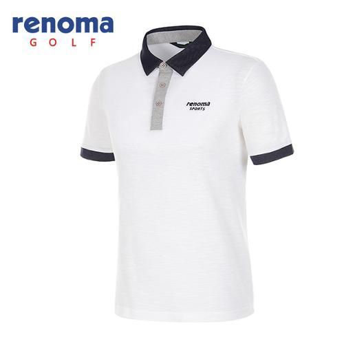 [레노마골프]남성 배색 카라 반팔 폴로넥 티셔츠 RATS35631-WH