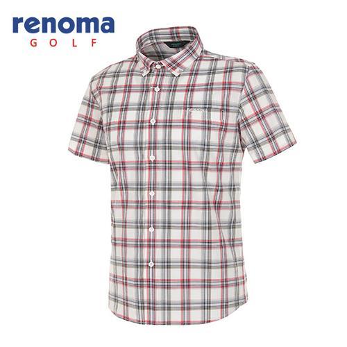 [레노마골프]남성 멀티 체크 버튼다운 반팔 셔츠 RAWS25531-RD