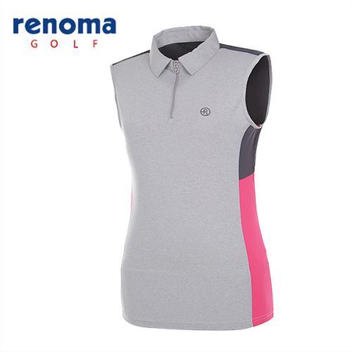 [레노마골프]여성 컬러블럭 집업 민소매 티셔츠 RATS7O531-MG