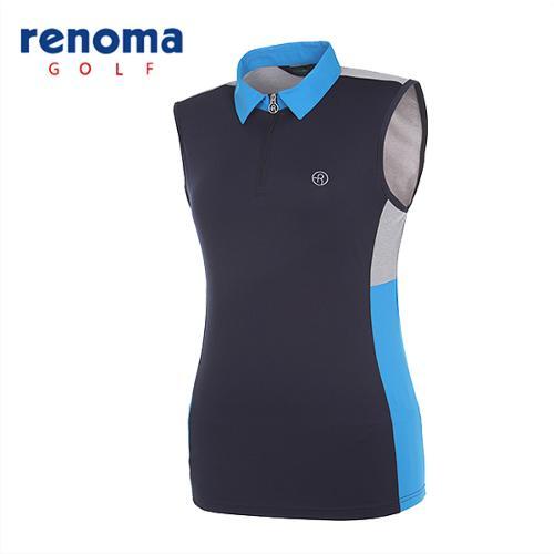 [레노마골프]여성 컬러블럭 집업 민소매 티셔츠 RATS7O531-NY