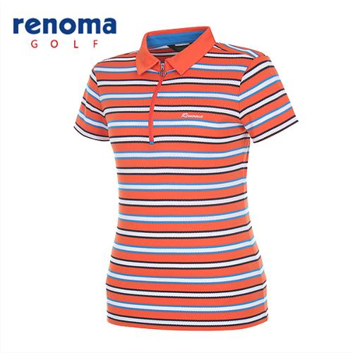 [레노마골프]여성 멀티 스트라이프 반집업 반팔 티셔츠 RATS81531-DO