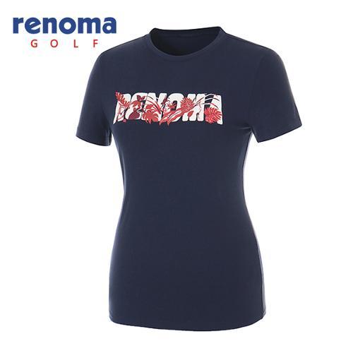 [레노마골프]여성 플로럴 로고 프린트 코튼 반팔 티셔츠 RATSW6531-NY