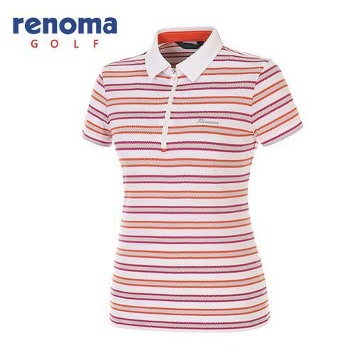 [레노마골프]여성 멀티 스트라이프 반집업 반팔 티셔츠 RATS81531-WH